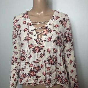 Lush floral blouse with Laceup detail
